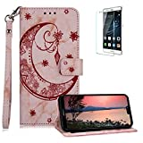 Funyee Magnetic Flip Case for Huawei P20 Lite [Free Screen Protector],Luxury Moon Embossed Pattern PU Leather Soft Wallet Case [Built-in Credit Card Slots] for Huawei P20 Lite,Rose Gold