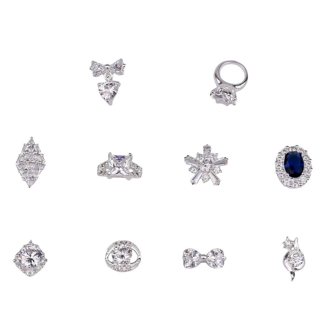 10pcs Luxury Silver Crystal Nail Zircon Gem Jewels Ring 3d Nail Art Charms Rhombus Design Snowflake Bows Chain Supply by TEEKME