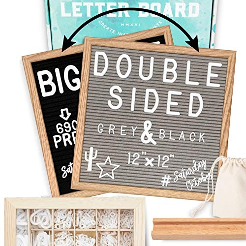 "Letter Board 12""x12"" Double Sided (Black & Gray) +690 PRE-Cut Letters +Bonus Cursive Words +Stand +UPGRADED WOODEN Sorting Tray 