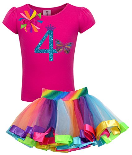 Bubblegum Divas Little Girls 4th Birthday Rainbow Princess Butterfly Tutu Outfit 3]()