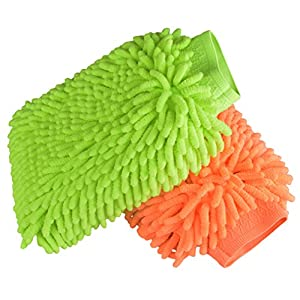 Waterproof Car Wash Mitts - 2 Pack Extra Large Size Automobile Detailing Gloves - Premium Chenille Microfiber Duster Cleaning Sponge Cloth Kit,Super Absorbent,Lint Free-Scratch Free,Use Wet or Dry