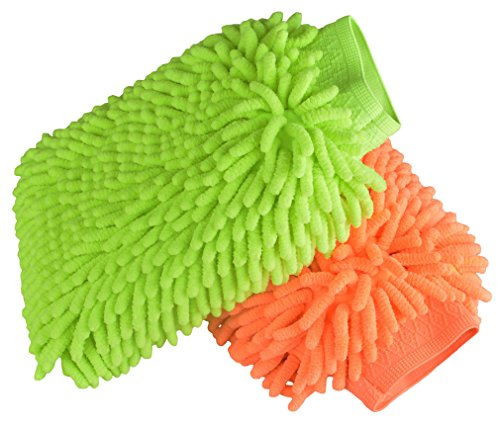 Price comparison product image Waterproof Car Wash Mitts - 2 Pack Extra Large Size Automobile Detailing Gloves - Premium Chenille Microfiber Duster Cleaning Sponge Cloth Kit,Super Absorbent,Lint Free-Scratch Free,Use Wet or Dry