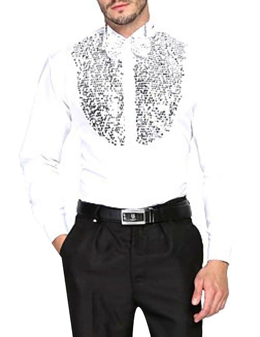 WANSHIYISHE-Men Sequins Casual Dress Shirt Button Up Club Dress Shirt