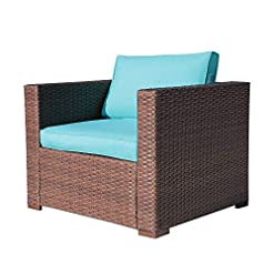 Garden and Outdoor OC Orange-Casual Outdoor Patio Armchair Sofa Chair All-Weather Wicker Furniture with Turquoise Cushions, Additional… outdoor lounge furniture