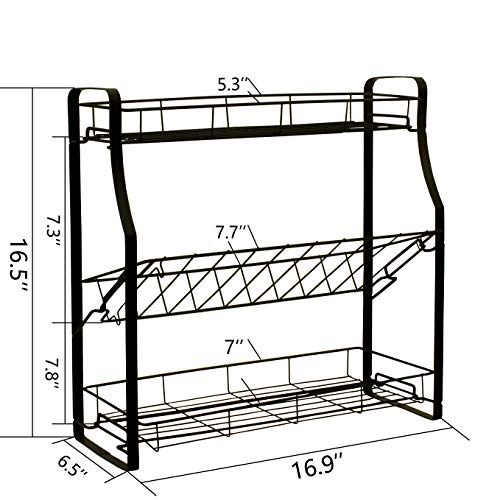 Spice Rack Organizer for Countertop | 2/3 Tier Adjustable Spice Organizer Storage Standing Shelf Seasonings Rack | Tool-Free Installation Holder for Kitchen,Bathroom,Cabinet,Pantry (Black, Steel)
