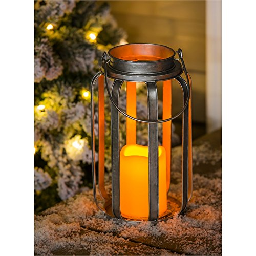 Evergreen Galvanized Battery Powered Lantern with LED Candle, 10.6 Inch Height