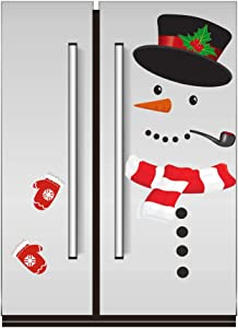 WESJOY Christmas Snowman Refrigerator Magnets, Large Self-adhensive Refrigerator Magnets Stickers for Christmas House Decorations Fridge, Metal Door, Garage, Cabinets