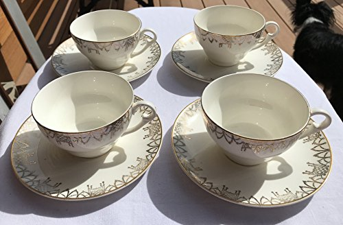 Set of Four Pope Gosser Tea Cups and Saucers With Gold Swag Border and Smooth Gold Trim