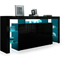 Sideboard Buffet Table Storage Cabinet High Gloss Front Cupboard 2 Doors and 4 Drawers Black 192CM