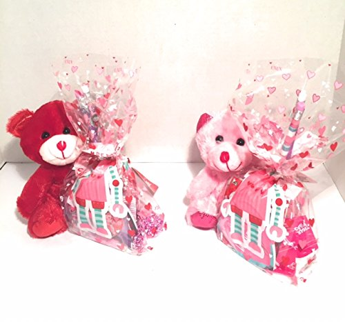 Happy Valentine's Day Gifts Set of 2 Set of 2 Bright Colored Valentine Teddy Bears 6.5 in With Valentine Treats and Trinkets Cute For School Gifts or to Give To Someone Special This Valentines Beaded Heart Trinket Box