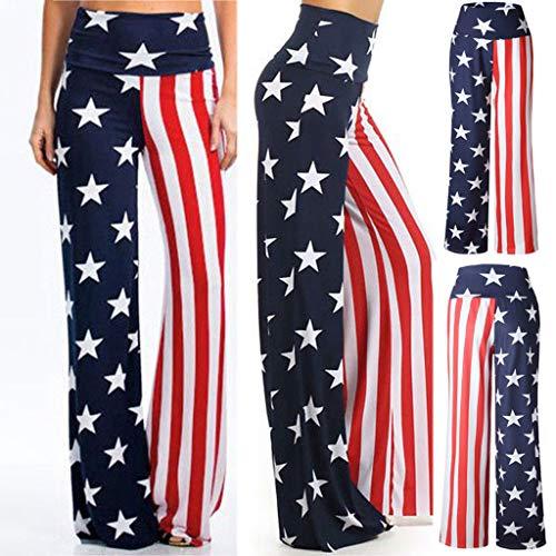 Leg Straight Dc Jeans - RIUDA Women Pants Print Loose Casual Pants American Flag Drawstring Wide Leggings Wide Leg Pants