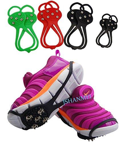 jshanmei® Par de 5dientes tacos de nieve para zapatos de hielo tracción tacos almohadillas antideslizantes Spikers gabbers zapatos cubierta Spikes Grips Crampones Antideslizante más de zapatos Spikes 5 Studs-Adult