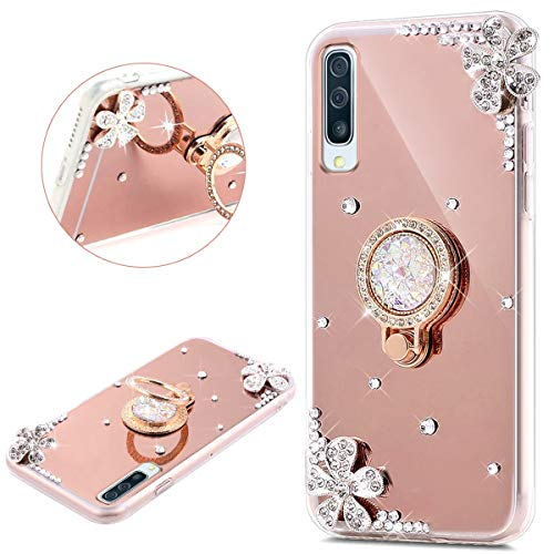 PHEZEN Compatible with Samsung Galaxy A50 Case Mirror Crystal Rhinestone Soft TPU Rubber Bumper Case Bling Diamond Glitter Makeup Mirror Back Case with Ring Stand Holder for Galaxy A50,Rose Gold