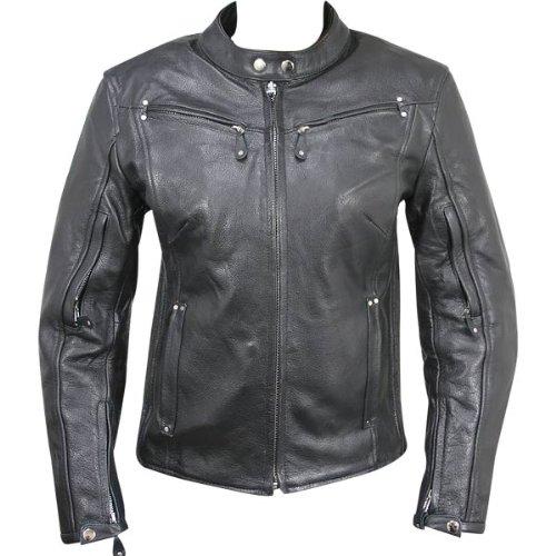 Xelement XS-2002 Womens Black Leather Armored Jacket - Medium