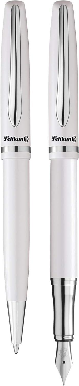 Pelikan 811101 Jazz Elegance Writing Instrument Set 1 Ballpoint Pen And 1 Fountain Pen Pearl White Elegance Bürobedarf Schreibwaren