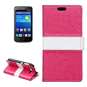 Crazy Horse Texture Horizontal Flip Color Matching Leather Case with Card Slots & Wallet & Holder for Huawei Ascend Y520 (Magenta)