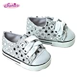 Sophia's 18 Inch Doll Sneakers. Silver Glitter Doll Sneakers Shoes Fit 18 Inch American Girl Dolls & More! Silver Glitter Sneakers Perfect for Doll Clothes for 18 Inch Dolls