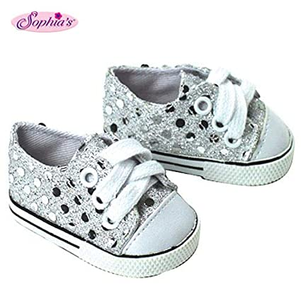 65b829f4db836 Sophia's 18 Inch Doll Sneakers. Silver Glitter Doll Sneakers Shoes Fit 18  Inch American Girl Dolls & More! Silver Glitter Sneakers Perfect for Doll  ...