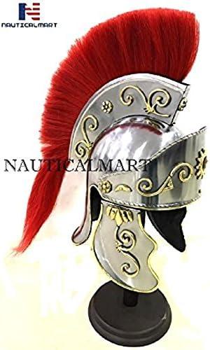 NauticalMart Greco Roman Armor Casque avec Plume Rouge