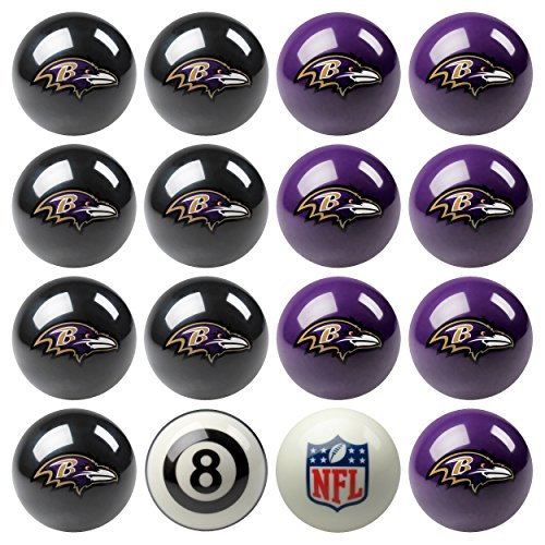 Imperial Officially Licensed NFL Merchandise: Home vs. Away Billiard/Pool Balls, Complete 16 Ball Set, Baltimore Ravens