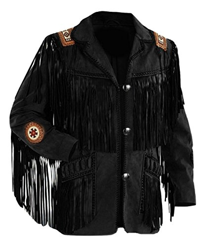 LEATHERAY Men's Fashion Western Fringed & Beaded Jacket Suede Leather Black XXL