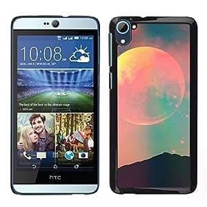 LECELL--Funda protectora / Cubierta / Piel For HTC Desire D826 -- luna cielo verde azulado pink espacio de la noche --