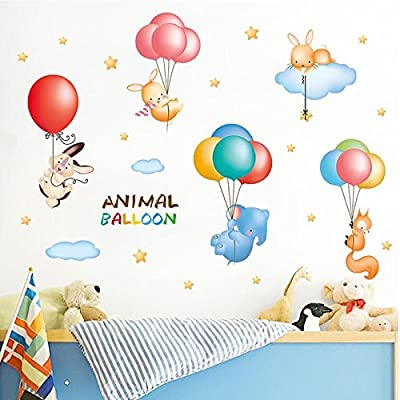 Nursery Wall Decals Stickers Colorful Animals floating on Balloons, Clouds and Stars Theme Removable Vinyl Wall Mural for Bedroom, Nursery, Playroom.