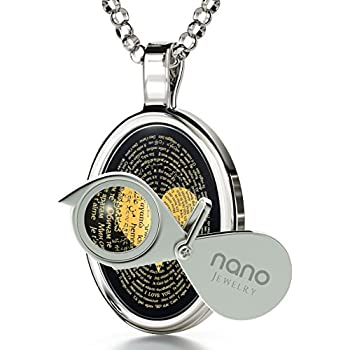"""925 Sterling Silver Love Necklace Inscribed with I Love You in 120 Languages on Onyx Pendant, 18"""" Chain"""