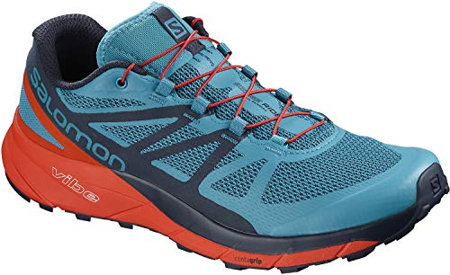Salomon Women Sense Ride Running Shoe (10.5 D US, Blue/Cherry Tomato/Navy Blazer)
