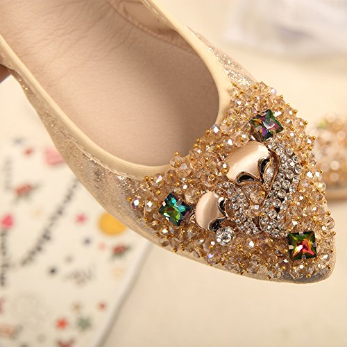 Foldable Pointed MAIERNISI Flats Comfort JESSI Ballet golden Beads Toe Womens Shoes Rhinestone Fox Soft ESwfRwrqn