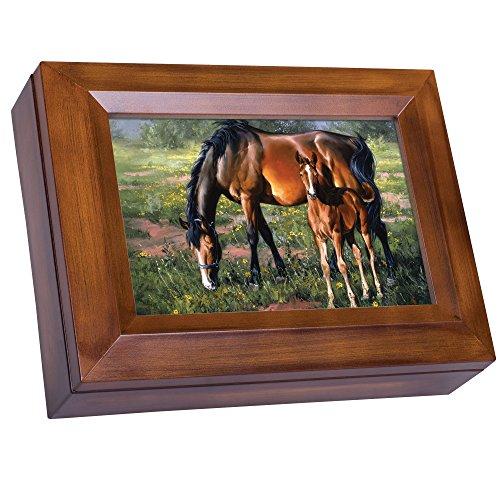 Cottage Garden Horse and Colt Grazing Jack Sorenson Woodgrain Digital Keepsake Music Box Plays My Wish