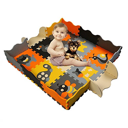 HAN-MM Kids Foam Mat Non Toxic Crawl Mat Baby Tiles Play Puzzle Mat with Softer Thicker EVA Foam Mat for Kids Toddlers Babies Playrooms/Nursery Tummy Time and Crawling Style30 - Square Kids Time