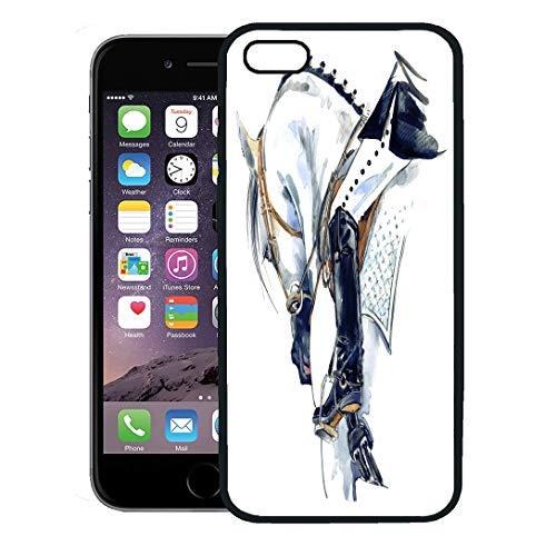Semtomn Phone Case for iPhone 8 Plus case,Dressage Equestrian Sport Horse Rider Watercolor Girl Bridle Beautiful iPhone 7 Plus case Cover,Black