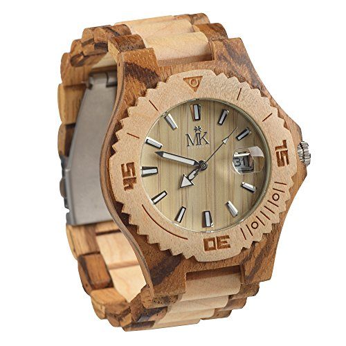 Wooden Watch For Men Women Maui Kool Lahaina Collection Maple And Zebrawood Wood Watch Bamboo Gift Box