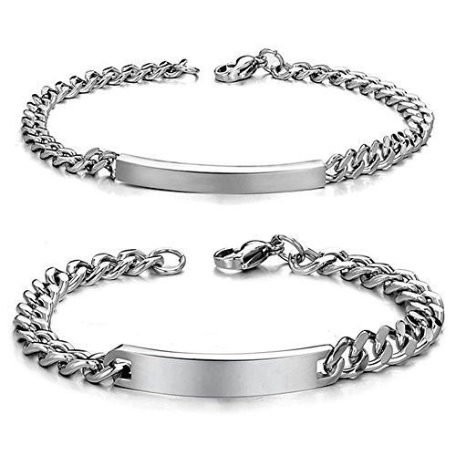 MMTTAO Titanium Stainless Steel Couples Bracelets for Men Women His & Her Matching Set Promise Personalized ID Chain Charms Bangle - Titanium Steel Mens Bracelet
