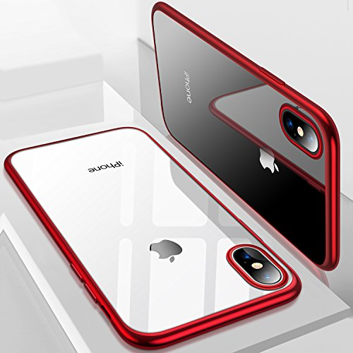 iPhone X Case, TORRAS Ultra Thin Slim Fit Flexible Soft TPU Transparent Crystal Clear Cover Case for Apple iPhone X, Red Red Crystal Case