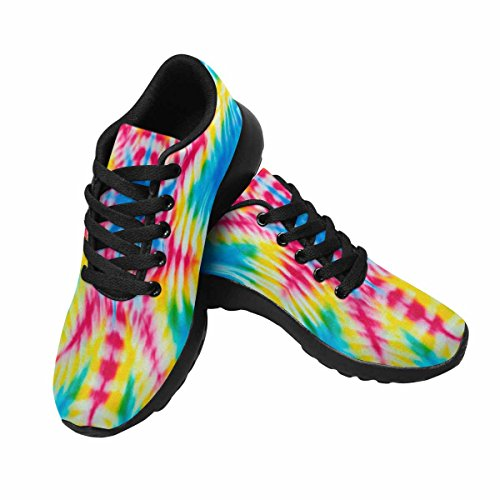 Interestprint Femmes Jogging Running Sneaker Léger Aller Facile Confort De Marche Sport Chaussures De Course Flou Tie Dye Couleurs Vives Fond Point De Létoile Multi 1