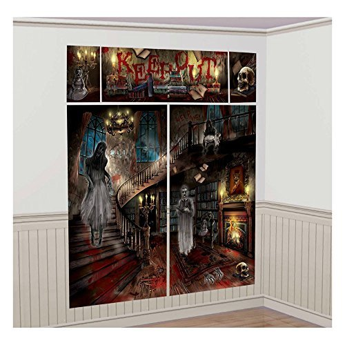Cheap Halloween Scene Setters (HAUNTED MANSION/SCARY HOUSE Scene Setter Party Backdrop)