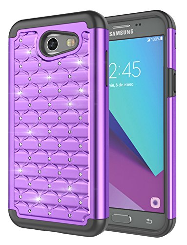 Galaxy J3 2017 Case,J3 Prime,J3 Emerge/Galaxy Sol 2/J3 Eclipse/J3 Mission Case, Jeylly [Diamond Star] Hybrid Rubber Plastic Shock Absorbing Studded Rhinestone Crystal Bling Rugged Case Cover - Purple