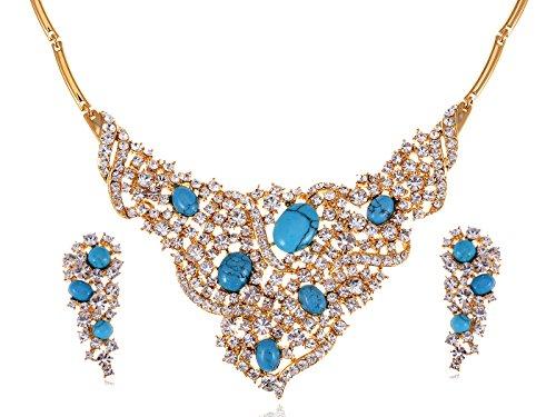 Tribal cristal Swarovski Strass Cluster collier bleu turquoise–Boucle d'oreille