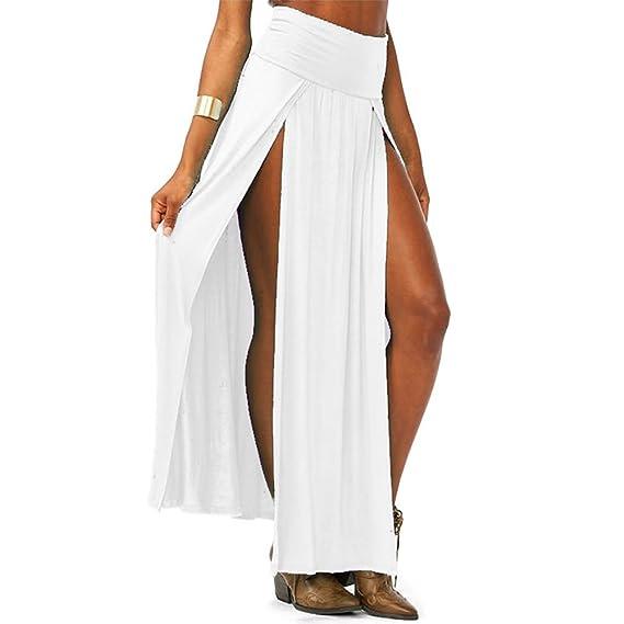 Falda de talle alto para mujer de Pinkyee, con aberturas en los ...