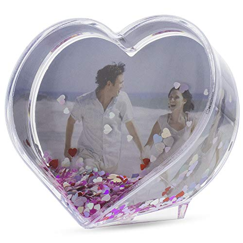 BestPysanky Heart Shaped Water Globe Picture Frame 3.5 Inches
