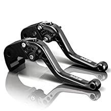 MZS Short Brake Clutch Levers for Suzuki GSR600 2006-2011,GSR750/GSXS750 2011-2016,GSXR600 1997-2003,GSXR750 1996-2003,GSXR1000 2001-2004,SFV650 2009-2015,SV650 2016,TL1000S 97-01,DL650 11-12 Black