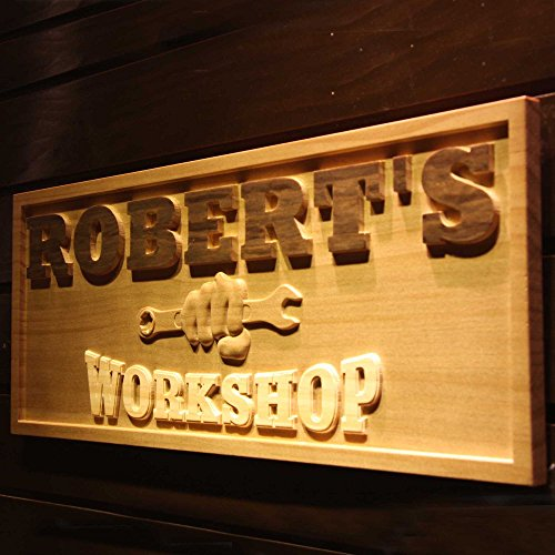 Personalized Sign Shop - ADVPRO wpa0218 Name Personalized Workshop Garage Man Cave Wood Engraved Wooden Sign - Standard 23