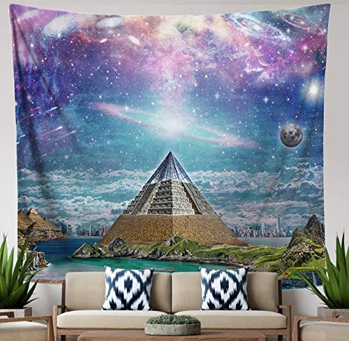 Lucid Eye Studios Surreal Space Trippy Tapestry 84 x 72 inches, Sacred Pyramid