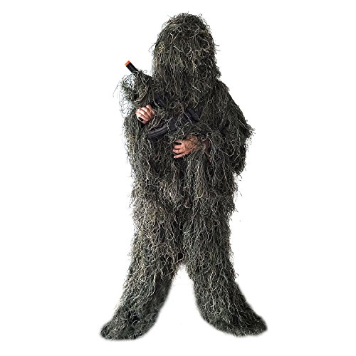 BESTHUNTINER Ghillie Suit, Woodland Camouflage Clothing, Army Sniper Military Clothes and Trousers for Jungle Hunting, Shooting, Airsoft, Wildlife Photography or Halloween, 5 Pieces, -