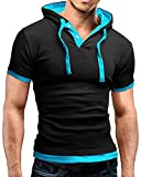 WmcyWell Men's Casual Short Sleeve Hooded T-shirt Slim Fit Hoodie Shirts S, Black and Blue