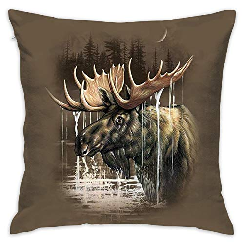 MERCASO Moose Forest Decor Throw Pillows Covers Decorative Pillowcase for Couch Bed Sofa Chain 18 X 18 ()