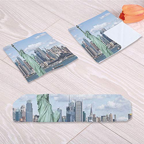 C COABALLA New York Pool Towel,Statue of Liberty in NYC for Office Hotel Restaurant Indoor,One Sided Printing:3 Piece Towel Set