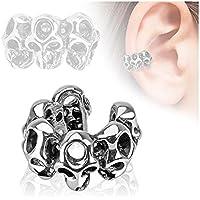 Covet Jewelry Skull Design Rhodium Plated Brass Non Piercing Ear Cuff